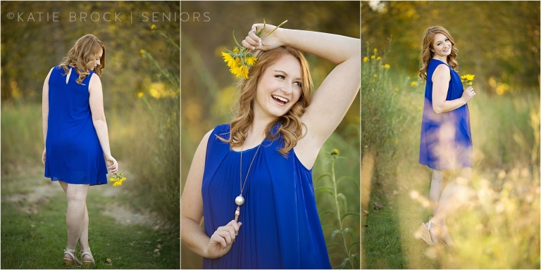 senior pictures in blue dress
